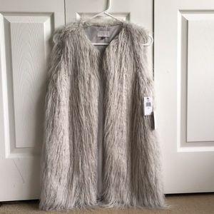 Long grey fur vest